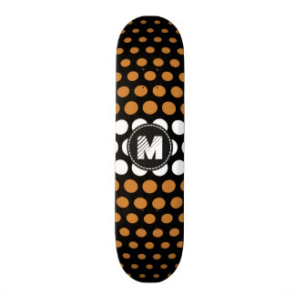 Monogram White & Bronze Polka Dots Pattern Skateboard Deck
