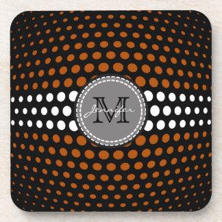 Monogram White & Brown Polka Dots Pattern Drink Coaster