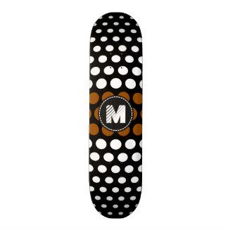 Monogram White & Brown Polka Dots Pattern Skateboard Deck