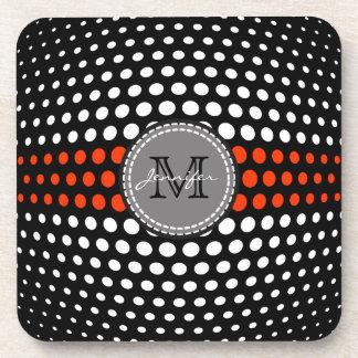 Monogram White & Coquelicot Polka Dots Pattern Beverage Coaster