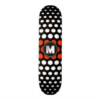 Monogram White & Coquelicot Polka Dots Pattern Skateboard Deck