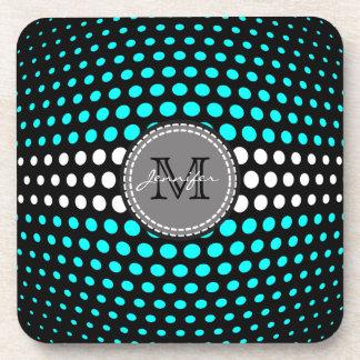 Monogram White & Cyan Polka Dots Pattern Coaster