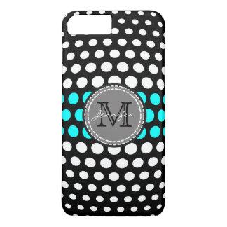 Monogram White & Cyan Polka Dots Pattern iPhone 7 Plus Case