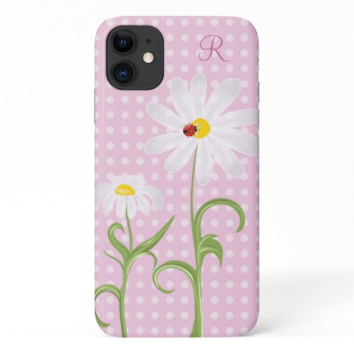 Monogram White Daisies and Lady Bug Polka Dot Pink iPhone 11 Case