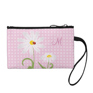 Monogram White Daisies and Lady Bug Polka Dot Pink Coin Purse