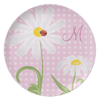 Monogram White Daisies and Lady Bug Polka Dot Pink Dinner Plate