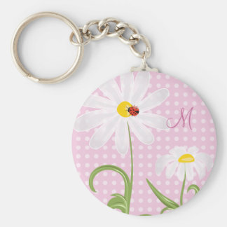 Monogram White Daisies and Lady Bug Polka Dot Pink Keychain