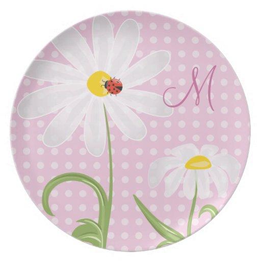 Monogram White Daisies and Lady Bug Polka Dot Pink Plates