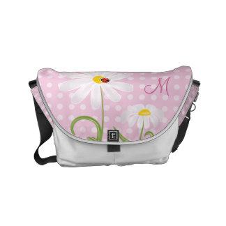 Monogram White Daisies and Lady Bug Polka Dot Pink Small Messenger Bag