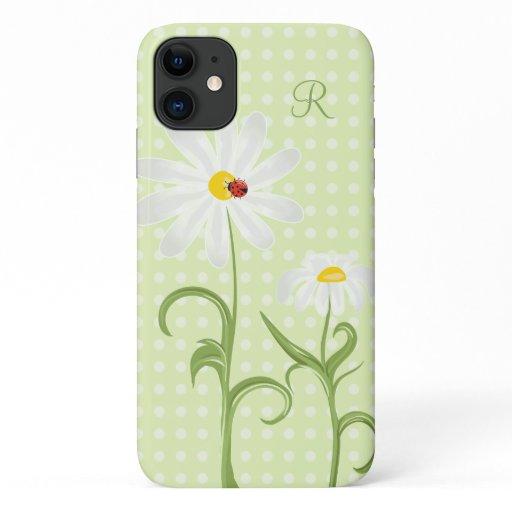 Monogram White Daisy and Lady Bug Polka Dot Green iPhone 11 Case