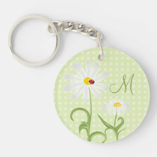 Monogram White Daisy and Lady Bug Polka Dot Green Keychain