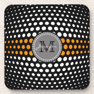 Monogram White & Dark orange Polka Dots Pattern Beverage Coaster