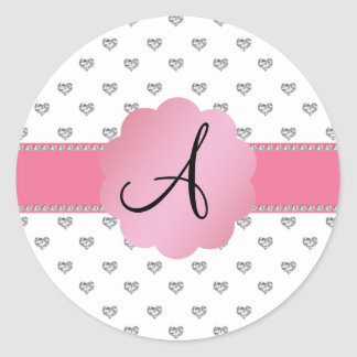 Monogram white diamonds hearts round stickers
