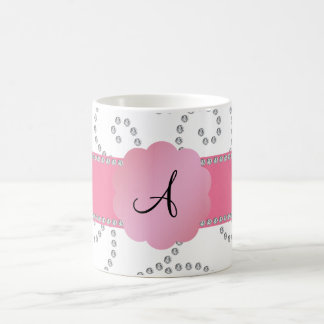 Monogram white diamonds mug