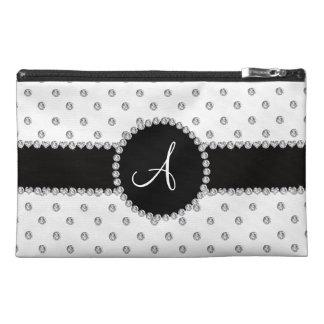 Monogram white diamonds polka dots travel accessories bag