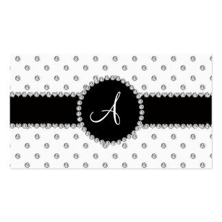 Monogram white diamonds polka dots business card