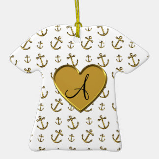 Monogram white gold anchors heart Double-Sided T-Shirt ceramic christmas ornament