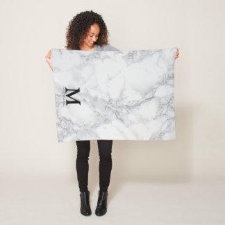 Monogram White Gray Marble Fleece Blanket