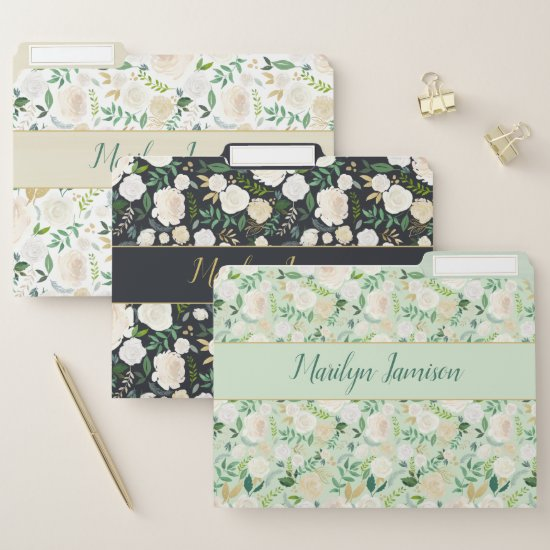Monogram White Green Black Roses Greenery File Folder