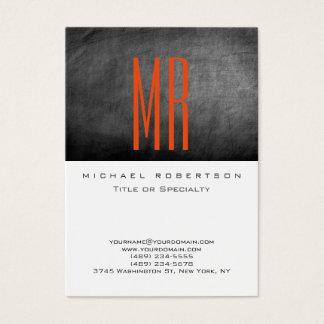 Monogram White Grey Chalkboard Large Business Card