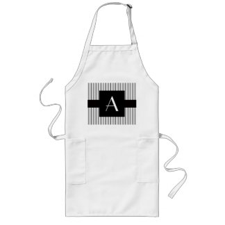 Monogram white grey stripes apron
