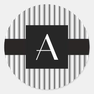 Monogram white grey stripes round stickers