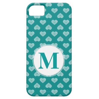 Monogram White Hearts Teal Pattern iPhone 5 Cases