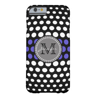Monogram White & Iris Polka Dots Pattern Barely There iPhone 6 Case