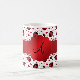 Monogram white ladybugs hearts mug