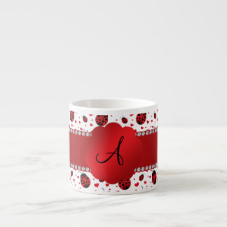 Monogram white ladybugs hearts espresso mugs