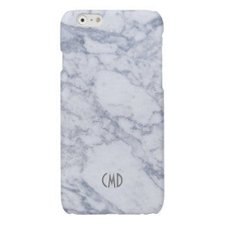 Monogram White Marble Stone Pattern Glossy iPhone 6 Case