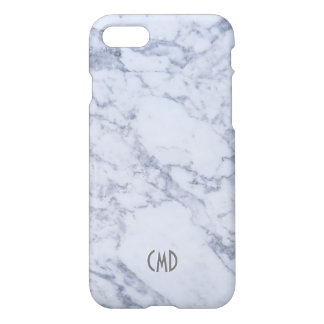 Monogram White Marble Stone Pattern iPhone 7 Case