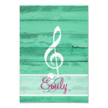 Monogram White Music Note Girly Turquoise Wood 3.5x5 Paper Invitation Card