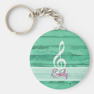 Monogram White Music Note Girly Turquoise Wood Keychain