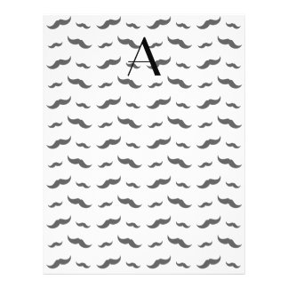 """Monogram white mustache pattern 8.5"""" x 11"""" flyer"""