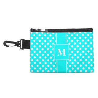 Monogram White on Aqua Blue Polka Dots Accessory Bag