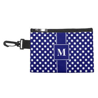 Monogram White on Dark Navy Blue Polka Dots Accessory Bag