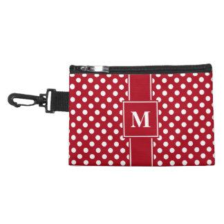 Monogram White on Dark Red Polka Dots Accessory Bag