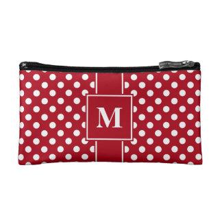 Monogram White on Dark Red Polka Dots Cosmetic Bag