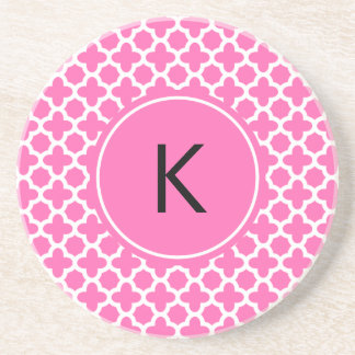 Monogram White on Hot Pink Quatrefoil Pattern Coasters