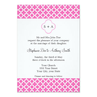 Monogram White on Hot Pink Quatrefoil Pattern 5x7 Paper Invitation Card