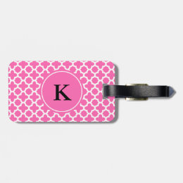 Monogram White on Hot Pink Quatrefoil Pattern Luggage Tag