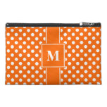 Monogram White on Orange Polka Dots Travel Accessory Bag