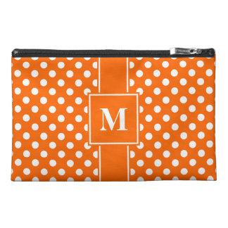 Monogram White on Orange Polka Dots Travel Accessory Bags