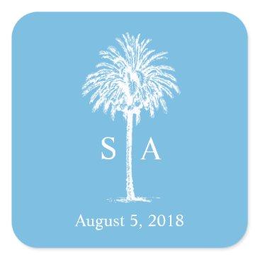 Monogram White Palm Tree Beach Wedding Sticker