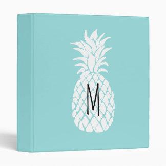 monogram white pineapple 3 ring binder