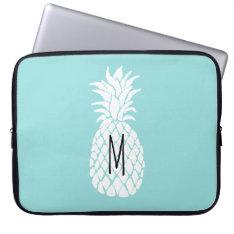 monogram white pineapple laptop sleeve at Zazzle