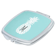 Monogram White Pineapple On Any Background Color Compact Mirror at Zazzle