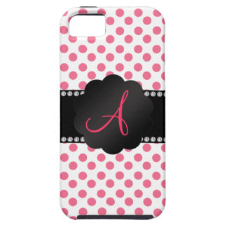 Monogram white pink polka dots iPhone 5 cases