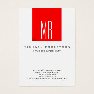 Monogram White Red Color Chubby Business Card